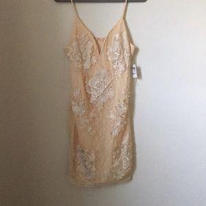Nude lace dress.